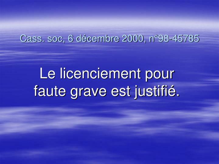 Cass. soc, 6 décembre 2000, n°98-45785