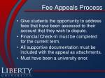 fee appeals process