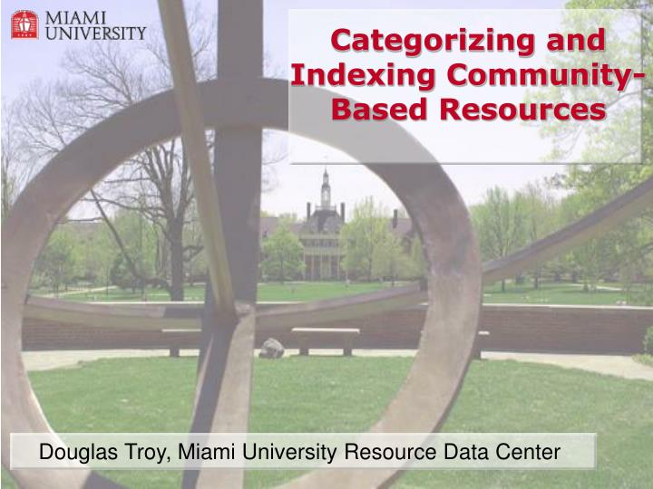 categorizing and indexing community based resources