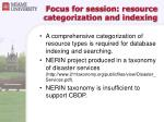focus for session resource categorization and indexing