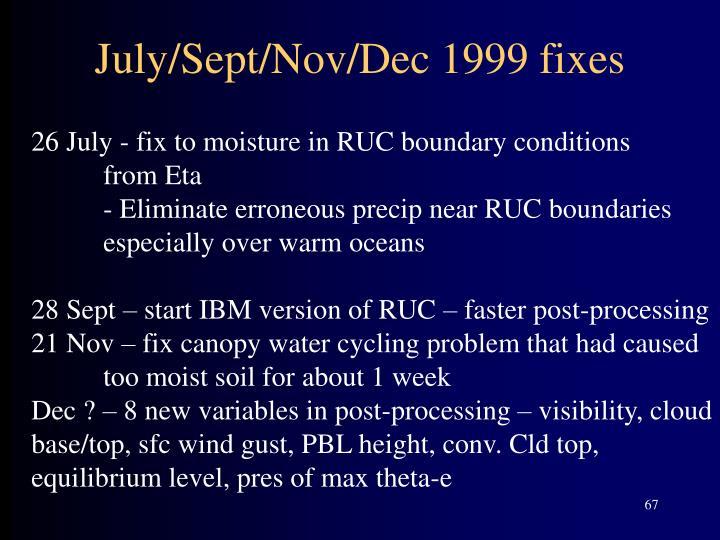 July/Sept/Nov/Dec 1999 fixes