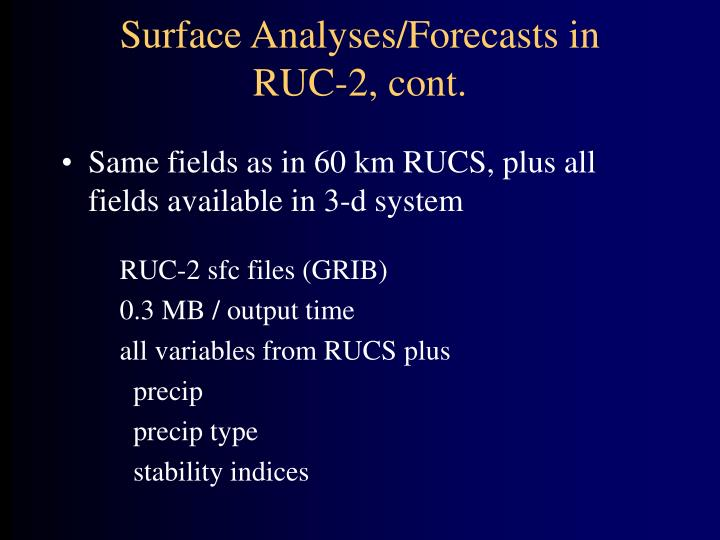 Surface Analyses/Forecasts in