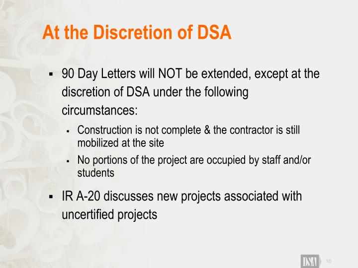 At the Discretion of DSA