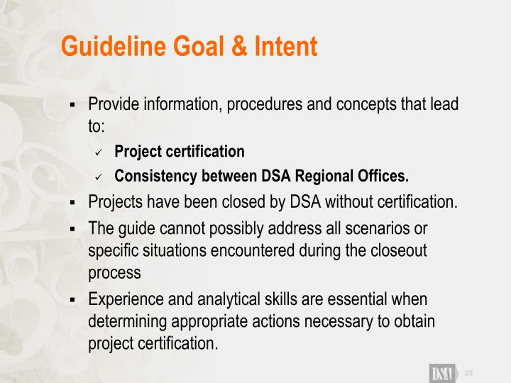 Guideline Goal & Intent