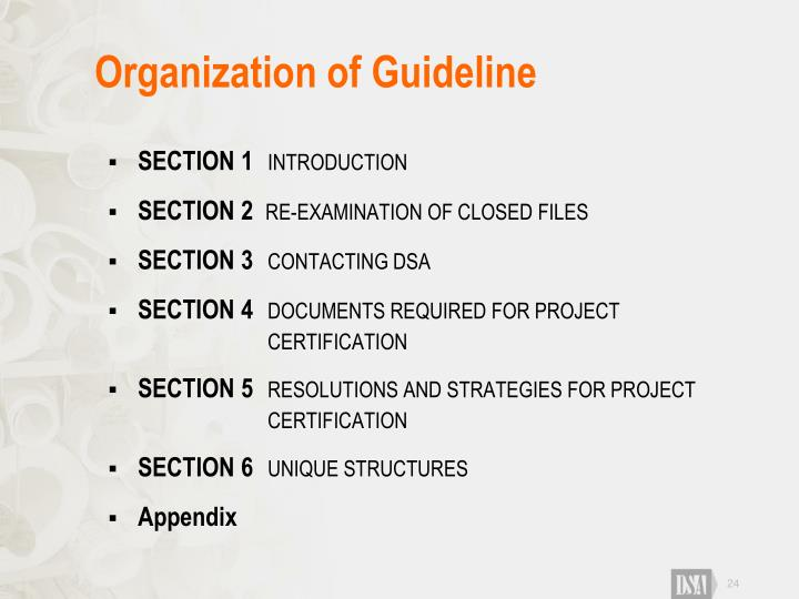 Organization of Guideline