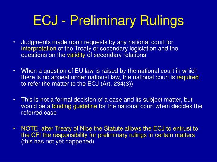 ECJ - Preliminary Rulings