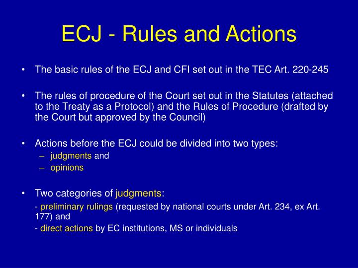 ECJ - Rules and Actions