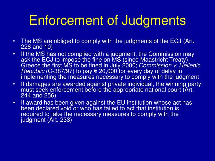 Enforcement of Judgments