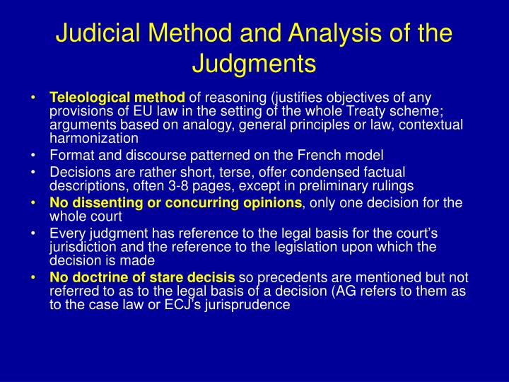 Judicial Method and Analysis of the Judgments