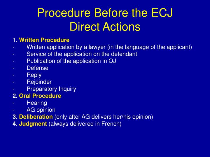 Procedure Before the ECJ