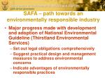 safa path towards an environmentally responsible industry