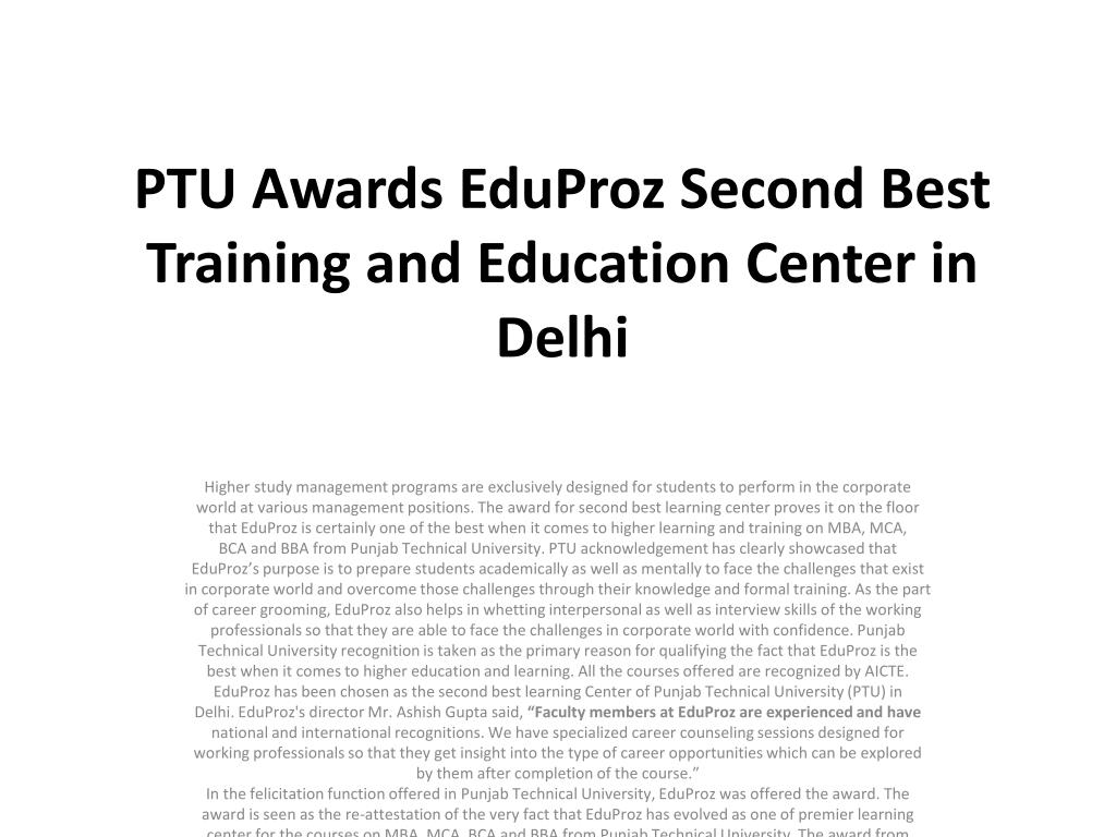 ptu awards eduproz second best training and education center in delhi l.