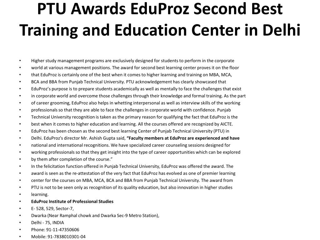 PTU Awards EduProz Second Best Training and Education Center in Delhi