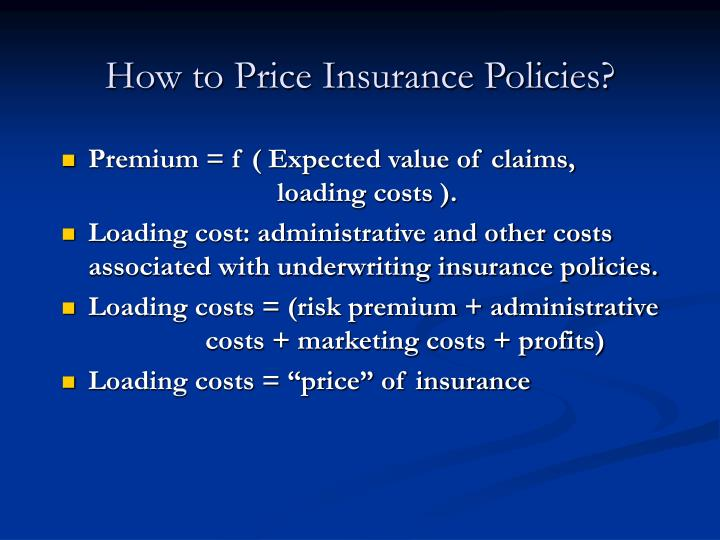 How to Price Insurance Policies?