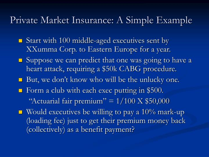Private Market Insurance: A Simple Example