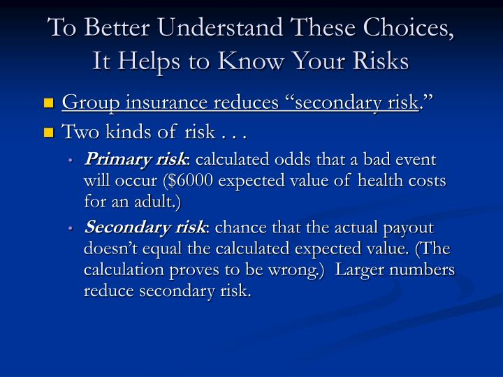 To Better Understand These Choices, It Helps to Know Your Risks