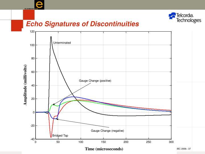Echo Signatures of Discontinuities