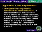 application plan requirements