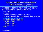 computing differences between observations using retain