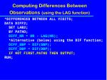 computing differences between observations using the lag function