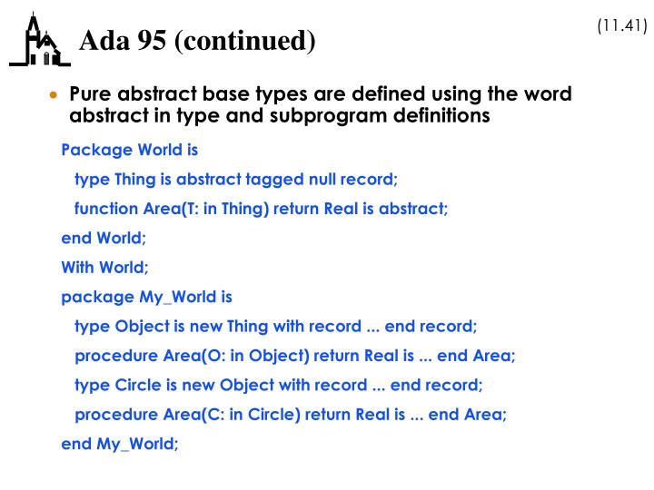 Ada 95 (continued)