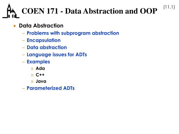 Coen 171 data abstraction and oop