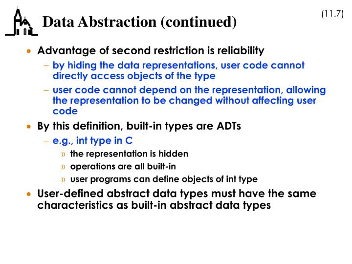 Data Abstraction (continued)