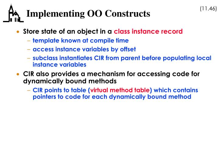 Implementing OO Constructs