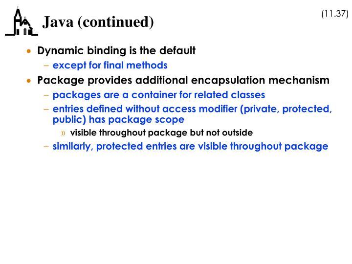 Java (continued)