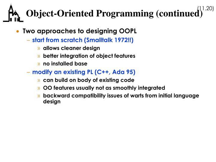 Object-Oriented Programming (continued)