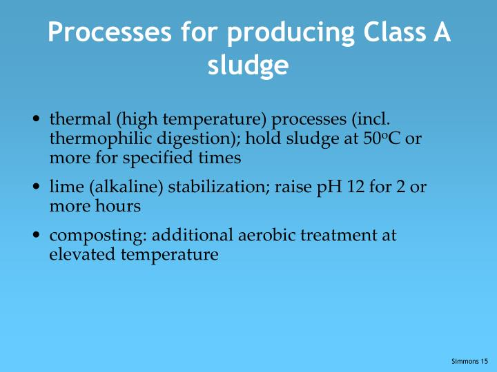 Processes for producing Class A sludge