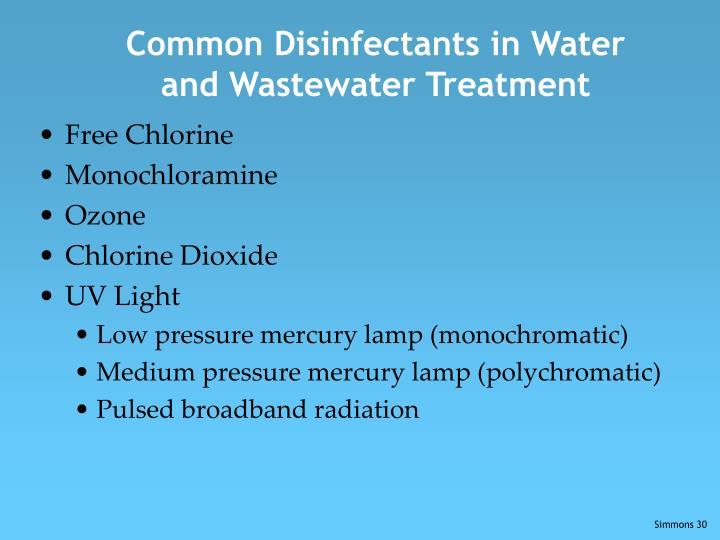 Common Disinfectants in Water