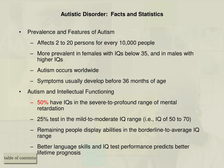 Autistic Disorder:  Facts and Statistics
