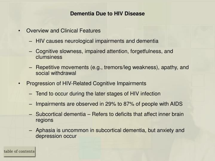 Dementia Due to HIV Disease