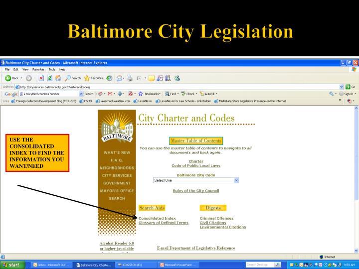 Baltimore City Legislation