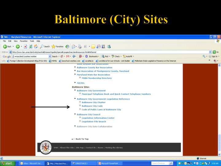 Baltimore (City) Sites