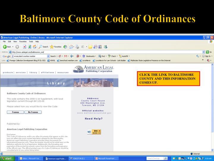 Baltimore County Code of Ordinances