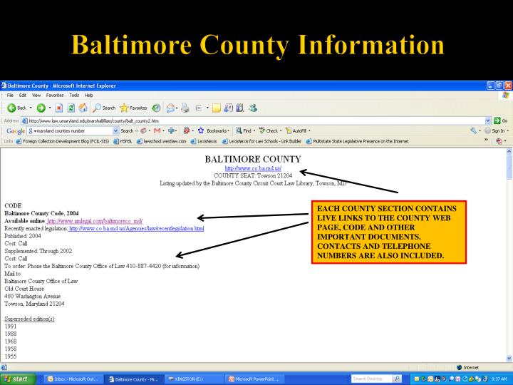 Baltimore County Information