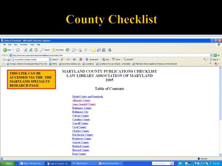 County Checklist