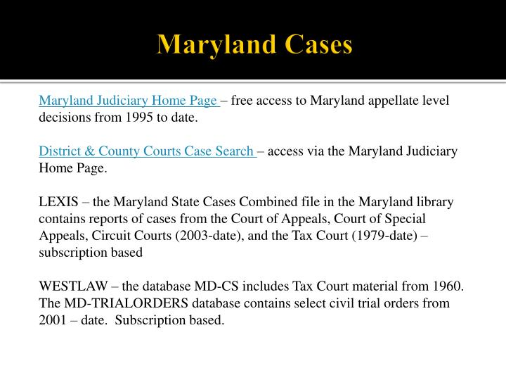 Maryland Cases