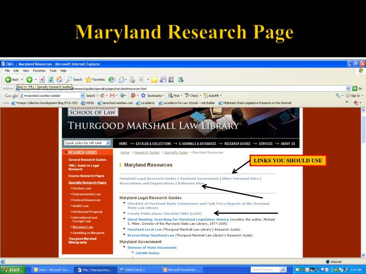Maryland Research Page