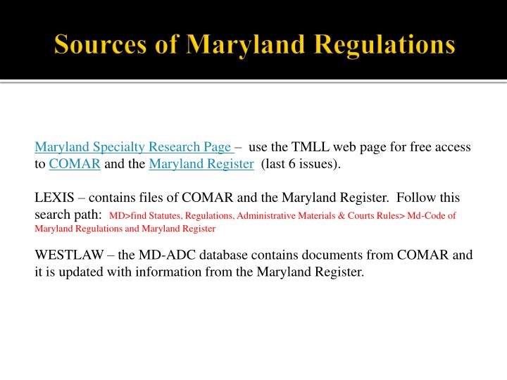 Sources of Maryland Regulations