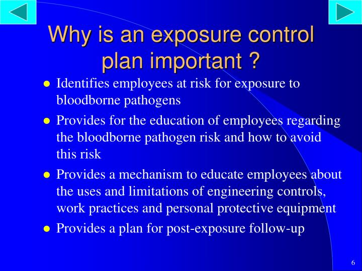 Why is an exposure control plan important ?
