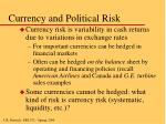 currency and political risk