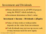 investment and dividends