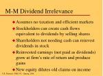 m m dividend irrelevance