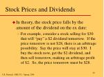 stock prices and dividends