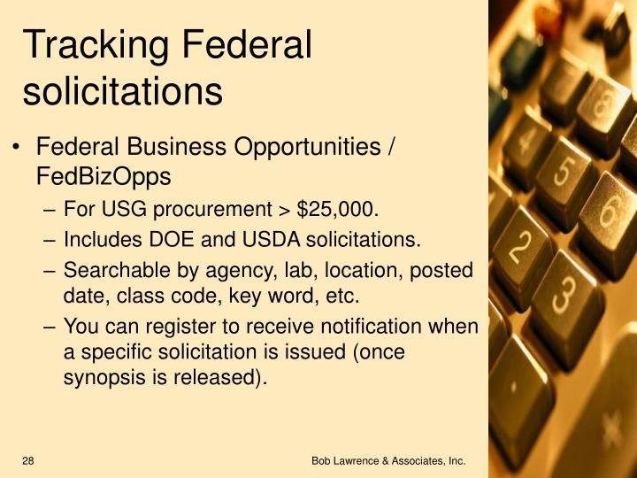 Tracking Federal solicitations