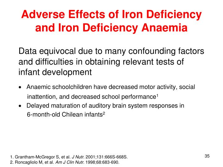 Adverse Effects of Iron Deficiency and Iron Deficiency Anaemia