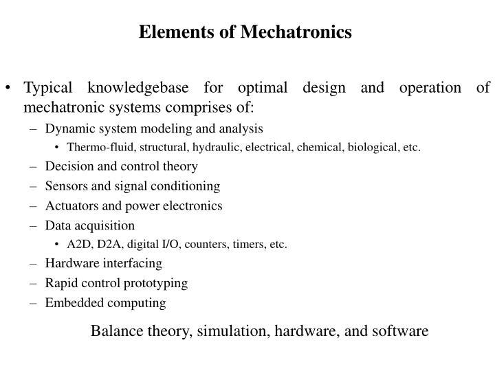 Elements of Mechatronics